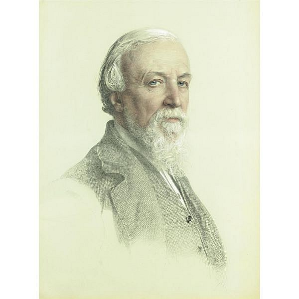 Anthony Frederick Augustus Sandys 1832-1904 , Portrait of Robert Browning black, white and colored chalk on grey-green paper