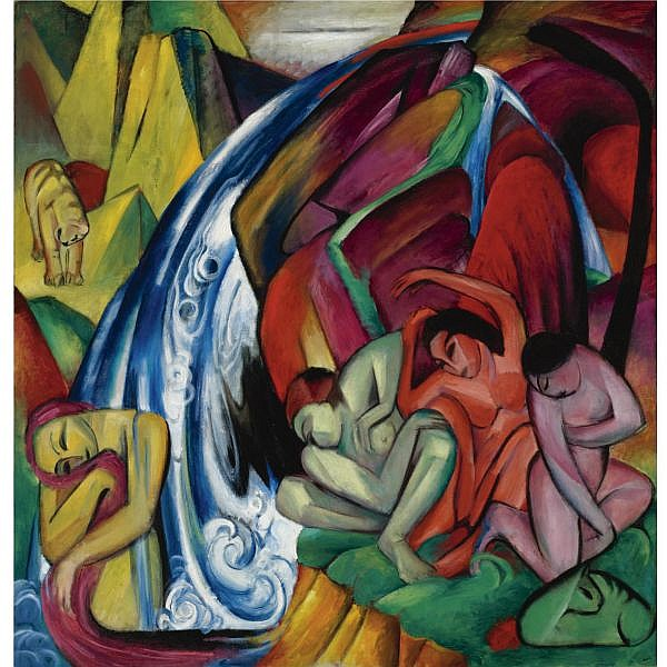 l - Franz Marc , 1880-1916 Der Wasserfall (Frauen unter einem Wasserfall) The Waterfall (Women under a Waterfall)