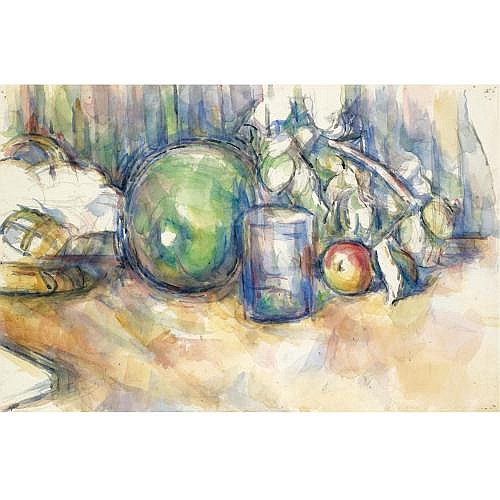l - Paul Cézanne , NATURE MORTE AU MELON VERT