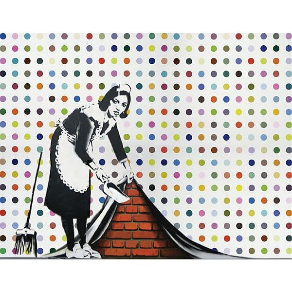 Banksy (defaced Hirst) , b 1975 Keep it Spotless household gloss and spray paint on canvas