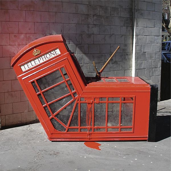 Banksy , b. 1975 Vandalised Phone Box telephone box and pickaxe