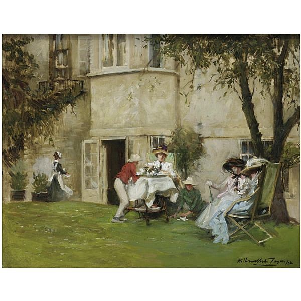 Albert Chevallier Tayler , British 1862-1925 Tea in the Garden oil on canvas