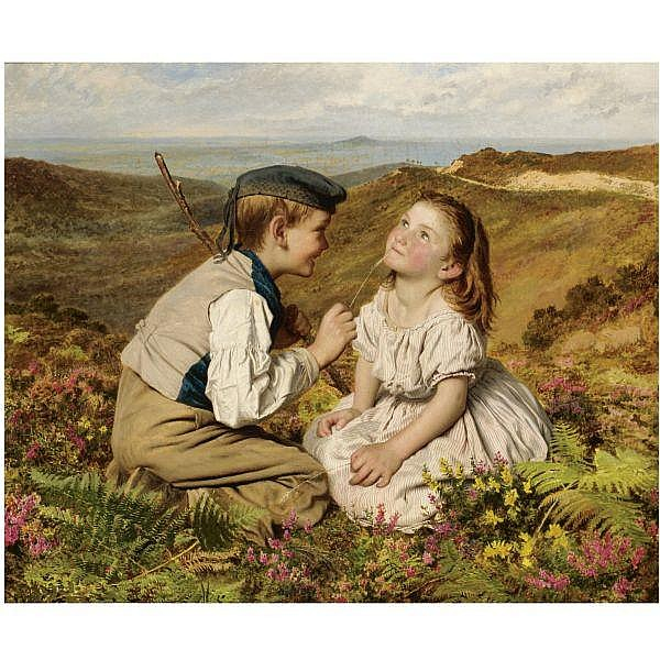 Sophie Anderson , 1823-1903 it's touch and go, to laugh or no oil on canvas
