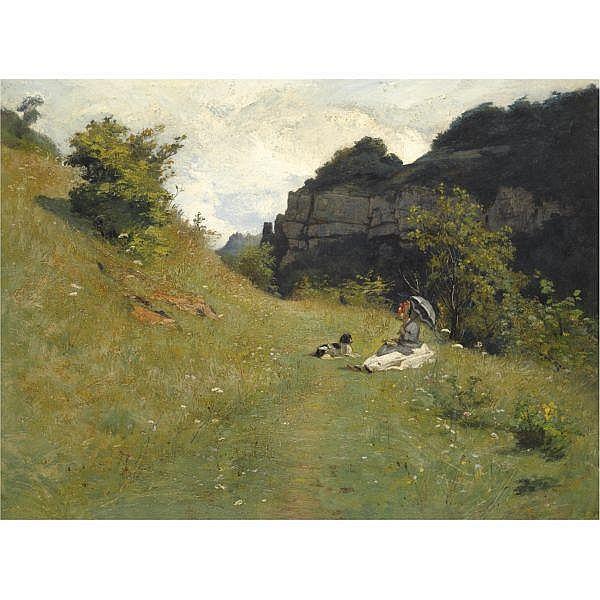 Jean-Paul Laurens , French 1838 - 1921   le chemin de la Maloche oil on canvas