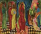 Justin O'Brien 1917-1996 ADORATION OF THE KINGS (1946) oil on paperboard