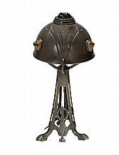 An Austrian bronze chunk jewel lamp, circa 1910