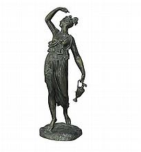 After the antique, a French bronze figure of a classical maiden, late 19th century