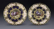 Two Royal Worcester dessert plates, by and signed Richard Sebright (2)