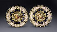 A pair of Worcester dessert plates, by and signed Richard Sebright (2)