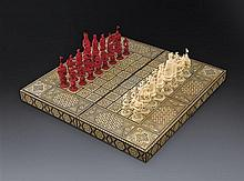 A Chinese export ivory figural chess set, Canton, 19th century (32)