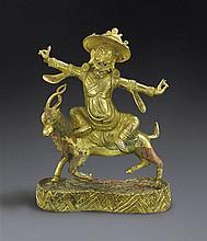 A gilt bronze figure of Pehar Gyalpo Qing dynasty, 18th/19th century (2)