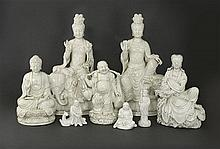 A collection of blanc de chine items, 20th century (8)