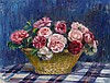 NORA HEYSEN 1911-2003 (Still Life of Roses in a Basket) oil on canvas