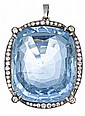 AQUAMARINE AND DIAMOND PENDANT, CIRCA 1900 Accompanied by a GSL report numbered AA51230, dated 22 February 2013, stating that the 88...