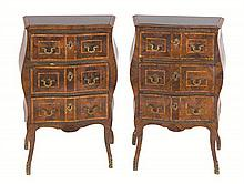 A pair of kingwood and tulipwood bedside cabinets, (adapted from commodes) Sicilian, part mid 18th century (2)