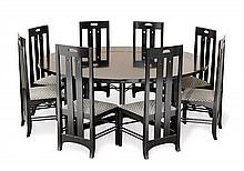 An ebonised ash dining table and eight chairs by Cassina, after Charles Rennie Mackintosh, circa 1990 (9)