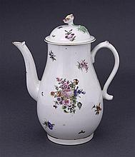 A Worcester baluster coffee pot with domed cover, circa 1770