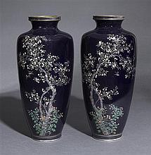 A large pair of cloisonné enamel vasesMeiji period (2)