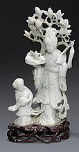 A jadeite figure of a maiden and attendant (2)
