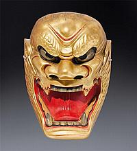 A wood Noh mask of Shishiguchi Meiji/Taisho periodlate 19th century