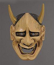Two wood Noh masks of Hannya and Yakan Meiji/Taisho periodlate 19th century (2)