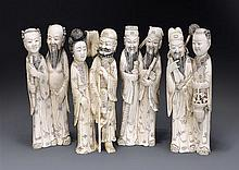 A carved ivory set of the Eight Immortals Qing dynasty, 19th century (4)