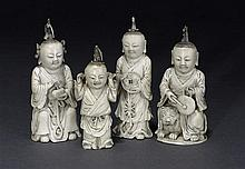 Four ivory figures of boysQing dynasty, 19th century (4)