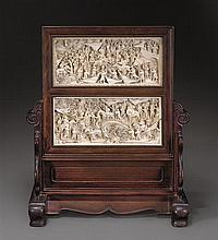 A carved ivory table screen Qing dynasty, 19th century