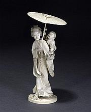 An ivory figure of a maiden Meiji period, 19th century