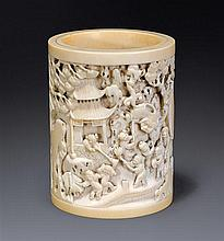 A carved ivory brushpot Qing dynasty, 18th/19th century (2)