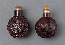 Two ruby glass snuff bottles (4)