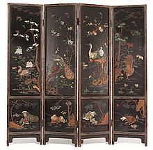 A four-panel embellished hard wood screen20th century
