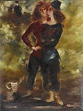 FRANCIS LYMBURNER 1916-1972 Two Girls oil on canvas on composition board