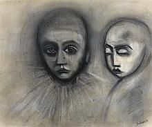 ROBERT DICKERSON born 1924 (Two Faces) charcoal and pastel on paper