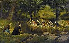 ADOLPHE MARTIAL POTEMONT 1828-1883 (Washer Women in Versailles) oil on canvas