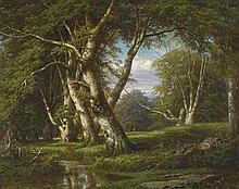 PEACE SYKES 1826-1903 (Beech Trees with Figures) oil on canvas