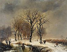 BAREND CORNELIS KOEKKOEK 1803-1862 (Figures in a Wooded Snow Scene) 1836 oil on board