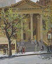 DORA WILSON 1883-1946 Baptist Church, Collins Street (1935) oil on board