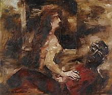 FRANCIS LYMBURNER 1916-1972 The Lovers oil canvas on composition board