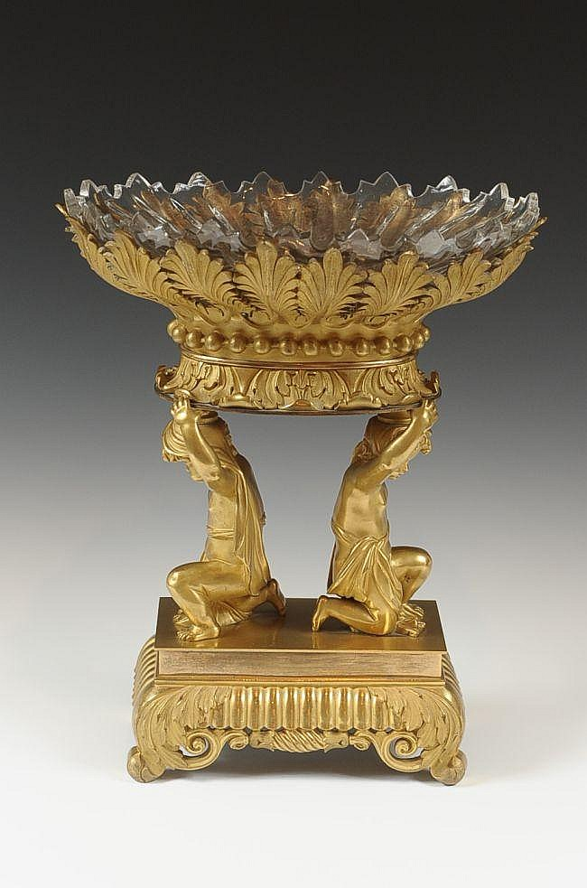 19TH C.  NEOCLASSICAL BRONZE DORE CENTERPIECE WITH PUTTI