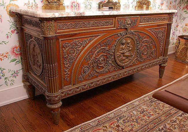 19TH C. FRENCH MARBLE TOP SIDEBOARD WITH BRONZE PLAQUES