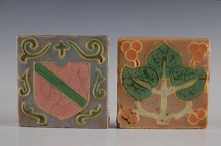 TWO WHEATLEY THREE COLOR ART POTTERY TILES