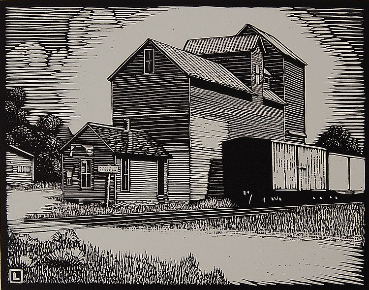 HERSCHEL C. LOGAN (1901-1987) PENCIL SIGNED BLOCK PRINT