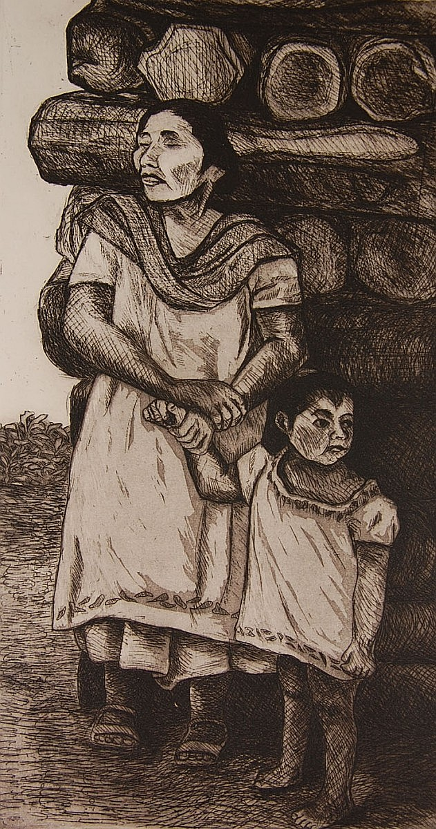 SARAH JIMENEZ PENCIL SIGNED DRYPOINT ETCHING