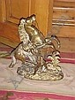 A pair of polished brass Marly Horses 38cm high