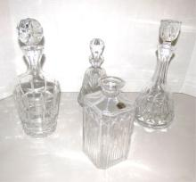 4 CUT CRYSTAL GLASS DECANTERS