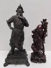 CARVED WOOD STATUES ASIAN ROSEWOOD