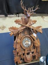 German Wood Hunting Cuckoo Clock