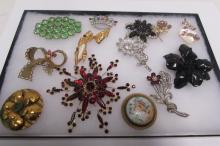 14 PIECE COSTUME JEWELRY PINS LIMOGES SIGNED