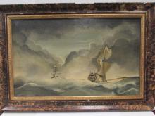19TH CENTURY OIL PAINTING BRITISH SHIPS